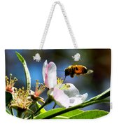 Apple Blossom And Honey Bee Weekender Tote Bag