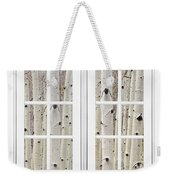 Aspen Forest White Picture Window Frame View Weekender Tote Bag