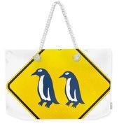 Attention Blue Penguin Crossing Road Sign Weekender Tote Bag