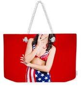 Attractive Usa Pinup Woman Smoking Weekender Tote Bag