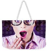 Attractive Young Nerd Girl With Surprised Look Weekender Tote Bag