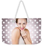 Attractive Young Retro Girl With Look Of Surprise Weekender Tote Bag