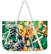 Autumn Leaves And Pinecone Background Weekender Tote Bag