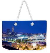 Barcelona And Its Skyline At Night Weekender Tote Bag
