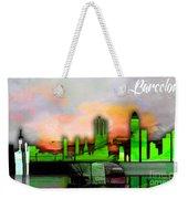 Barcelona Spain Skyline Watercolor Weekender Tote Bag