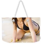 Beach Fun With A Gorgeous Brunette Weekender Tote Bag