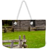 Beautiful Autumn Scene Showing Rustic Old Log Cabin Surrounded B Weekender Tote Bag