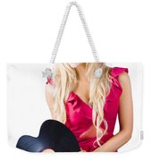 Beautiful Blonde With Heart-shaped Record Weekender Tote Bag