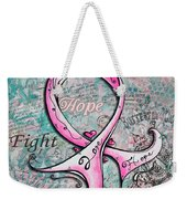 Beautiful Inspirational Elegant Pink Ribbon Design Art For Breast Cancer Awareness Weekender Tote Bag