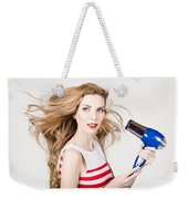 Beautiful Model Hair Styling Long Red Hairstyle Weekender Tote Bag