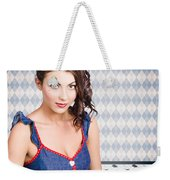 Beautiful Young Brunette Pin-up Woman  Weekender Tote Bag