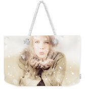 Beautiful Young Woman Blowing Snow In Winter Style Weekender Tote Bag
