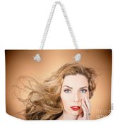Beauty Portrait. Beautiful Woman And Long Red Hair Weekender Tote Bag