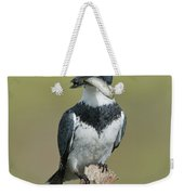 Belted Kingfisher With Fish Weekender Tote Bag
