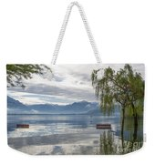 Bench With Trees On A Flooding Alpine Lake Weekender Tote Bag