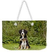 Bernese Mountain & Jack Russell Puppies Weekender Tote Bag