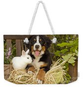 Bernese Mountain Puppy And Rabbit Weekender Tote Bag