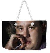Big Mob Boss Smoking Cigarette Dark Background Weekender Tote Bag