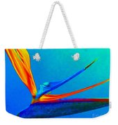 Bird Of Paradise With Blue Background Weekender Tote Bag