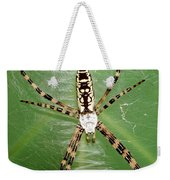 Black And Yellow Garden Spider Weekender Tote Bag