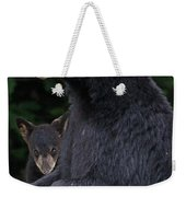 Black Bear With Cub Weekender Tote Bag