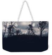 Black Silhouette Trees In Spooky Tasmanian Forest Weekender Tote Bag