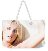 Blond Sports Girl Holding Surfboard Weekender Tote Bag