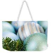 Blue Christmas Ornaments Weekender Tote Bag