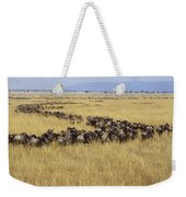 Blue Wildebeest Migrating Masai Mara Weekender Tote Bag