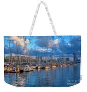 Boats In The Harbor Of Barcelona Weekender Tote Bag