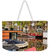 Boats On Canal In Amsterdam Weekender Tote Bag