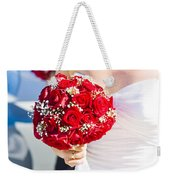Bride Holding Red Rose Flower Bunch Weekender Tote Bag