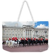 British Royal Guards Perform The Changing Of The Guard In Buckingham Palace Weekender Tote Bag