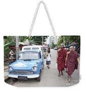 Buddhist Monks In Yangon Street Myanmar Weekender Tote Bag