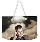 Businessman Having Bad Day. Communication Trouble Weekender Tote Bag