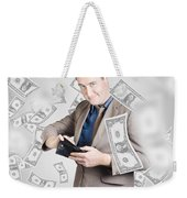 Businessman Under Falling Money. Financial Success Weekender Tote Bag