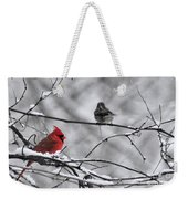 Cardinal In Winter Weekender Tote Bag