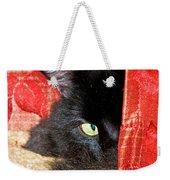 Cat Hiding Behind Drapes Weekender Tote Bag