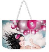 Celebration. Happy Fashion Woman Holding Balloons Weekender Tote Bag