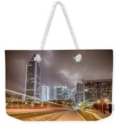 Charlotte Nc Usa Skyline During And After Winter Snow Storm In January Weekender Tote Bag