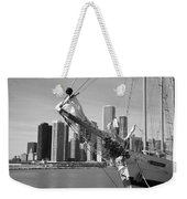 Chicago Skyline And Tall Ship Weekender Tote Bag