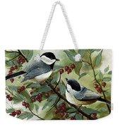 Chickadees And Cherries Weekender Tote Bag