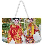 Children Dressed In Full Traditional Chinese Opera Costumes. Weekender Tote Bag