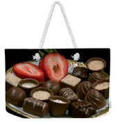 Chocolate On Plate With Strawberry Weekender Tote Bag