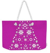 Christmas Tree Made Of Snowflakes On Pink Background Weekender Tote Bag