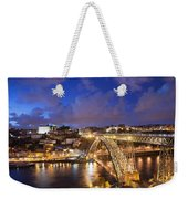 City Of Porto In Portugal By Night Weekender Tote Bag
