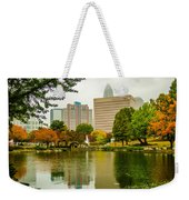 City Skyline In Fog And Rainy Weather During Autumn Season Weekender Tote Bag