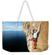 Climber Grabs A Hold While Climbing Weekender Tote Bag