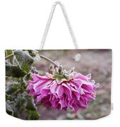 Close-up Of Flowers Covered By Frost Weekender Tote Bag