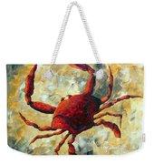 Coastal Crab Decorative Painting Original Art Coastal Luxe Crab By Madart Weekender Tote Bag